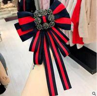 broches de diamante venda por atacado-Big Bow bowknot diamante bordado Broches Para As Mulheres Pin 2018 Real Broches Bordados Rose Bowknot Broches