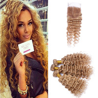 Wholesale honey strawberry blonde - #27 Honey Blonde Deep Wave Lace Closure with Bundles Strawberry Blonde Peruvian Deep Curly Human Hair Weaves with Top Closure