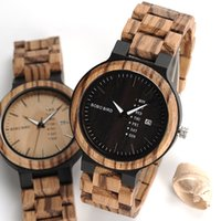 Wholesale Wooden Movement - 2017 BOBO BIRD Brand Calendar Watch With Quartz Movement And Wooden Strap Wristwatches Dress Watch relogio B-O26