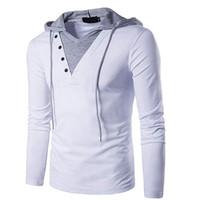 moda rahat erkek hoodies toptan satış-Erkek Casual Slim Fit Uzun Kollu Kazak Kapüşonlu Hoodies ile Üstleri Adam Ince Erkek Üstleri Moda Eşofman AVRUPA BOYUTU B24-27