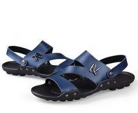 ingrosso sandali in pelle casual traspirante maschile-2018 nuovi uomini che scoppiano traspiranti, scarpe casual disinvolte, sandali double in pelle, sandali maschili antiscivolo e traspiranti L006