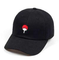 logo japanese toptan satış-100% Pamuk Japon Anime Naruto Baba Şapka Uchiha Aile Logo Nakış Beyzbol Kadınlar için Siyah Snapback Şapka Hip Hop Caps Erkekler