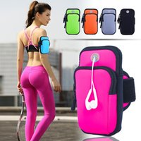 Wholesale arm pocket armband - Universal 6inch Outdoor Arm Bags Running Sports Fitness Mobile Phone Bag Case For Samsung Huawei Mobile Phones
