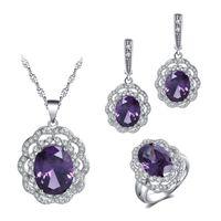 Wholesale purple cubic zirconia necklace - Bridal Jewelry Sets For Women Wedding Gift 925 Sterling Silver Purple Zircon Crystal Earrings Necklace Pendants Ring