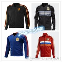 Wholesale Italy Trains - AAA quality 2018 world cup Spain Soccer jacket TRAINING SUIT 2018 Belgium Argentina soccer jacket kit Italy TRACKSUIT SPORTSWEAR