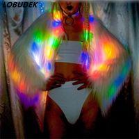 ingrosso abito luminoso-Colorful LED Bright stage Coat costumi femminili giacca luminosa Bar spettacolo di danza cappotto giacca cantante ballerino spettacolo discoteca costume