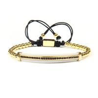 Wholesale Rope Watch Men - New Bracelet Wholesale 10pcs ot Mix Colors Cubic Zirconia Long Brass Tube Watch Protector Cz Lace Up Bracelets For Cool Men