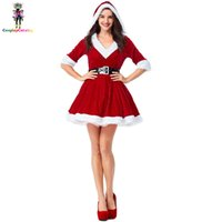 kadife seksi santa toptan satış-Kırmızı / Beyaz V Yaka Kadın Elbiseler ile Şapka Santa Tatlım Kostüm Kızak Hottie Santa Kostüm Bebek Kadife Noel Tatil Elbise seksi
