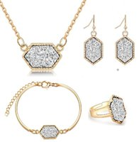 Wholesale gold drusy ring - Fashion Druzy Drusy Jewelry Sets Gold Plated Popular Faux Stone Turquoise Bracelet Earrings Necklace & Ring For Women Lady Jewelry