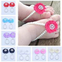 Wholesale first foot online - New Baby Flower Sandals Anklets Simulated Pearl Newborn Baby Girls Foot Band Toe Rings First Walker Barefoot Sandals Foot ornament KFA33