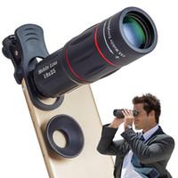 evrensel mobil mercek tripodu toptan satış-Apexel 18X Teleskop Yakınlaştırma Cep Telefonu Lens iPhone Samsung Akıllı Telefonlar için evrensel klip Telefon Kamera Lens ile tripod