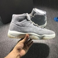 Wholesale Embroidered Cotton Voile Fabric - 2018 New 11 PRM Grey Suede Good PREM GRIS FRAIS VOILE 11s Suede Men Basketball Shoes Free Shipping Sneakers