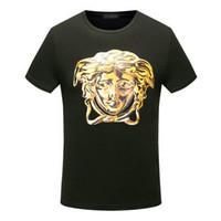Wholesale Fashion T Shirts For Men - fashion summer italy for men T-shirt Designer luxury Brand short sleeve gold 3d medusa head print letter t shirt Tee women Casual Top tshirt