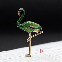 Wholesale Flamingo Jewelry - 2018 new exotic color stereo Flamingo brooch pin drop brooch jewelry female personality