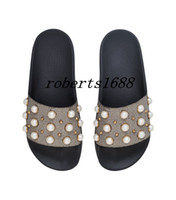 Wholesale embellished sandals - new arrival mens and womens fashion Pearly-Studded Embellished rubber slider sandals slippers adults unisex causal flip flops
