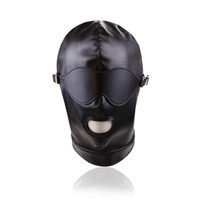 Wholesale Slave Gear - Top Grade Sex Hood Mask Bdsm Bondage Cap Leather Eye Mask Slave Open Mouth And Eye Hood Toys For Adult Head Gear Products Hot sale
