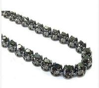 Wholesale cut diamond necklace - Mens Diamond Chain 30inches 5mm Round Cut Black Color Necklace 14k Gold 42.90ct