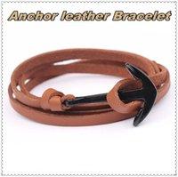 ankerhaken seil armband großhandel-BRstones Anchor Leder Charm Armband Seil Segeln Wikinger Wrap Armband mit nautischen Anker Legierung Verschluss 28 Zoll
