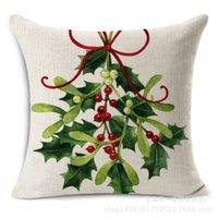 housse coussin al por mayor-NUEVO diseño decorativo Throw Pillow caso Merry Christmas Decorations funda de cojín de algodón de lino verde Leather Coussin 45x45cm