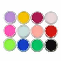 esmalte de uñas colores mezclados al por mayor-Nail Glitter Mix Colors Nail Art Fine Glitter Powder Dust UV Gel Polish Acrylic Tips DIY Herramientas de decoración 12color / set
