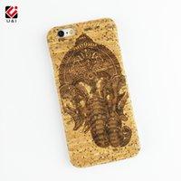 Wholesale engrave wood cover - Ganesha Engraving Handmade U&I Real Cork Wood Case for iPhone 6 6S 6Plus 6SPlus 7 7Plus Back Cover Apple Capa Factory Custom Coque