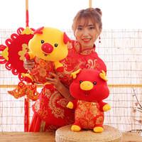 mascote bonito venda por atacado-2018 ano novo bonito bênção porco brinquedo de pelúcia boneca porco ano mascote bichos de pelúcia brinquedos o melhor presente para as crianças