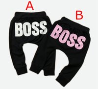 Wholesale harem pants for baby girls - INS Baby Boys Girls Pants Fashion Letter BOSS Print Pants New Cotton Baby Girls Harem Pants For Baby Casual Trousers Boy Girl Clothes