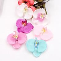 kaliteli ipek çiçek başlıkları toptan satış-100 adet Yapay Çiçek Yüksek Kalite Ipek Kelebek Orkide Kafa Düğün Araba Ev Dekorasyon Için Diy Flores Cymbidium El Yapımı