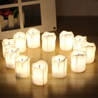 batería led luces para velas al por mayor-12 unids / set velas de Halloween LED sin llama reloj de vela candelitas con pilas luces eléctricas parpadeante candelita para el cumpleaños de la boda