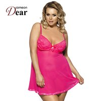 Wholesale Sexy Plus Size Baby Doll - Comeondear Fashion Purple Pink Plus Size Lingerie Special Design Baby Dolls For Women RB7763 Beautiful Fitness Sexy Lingerie Hot