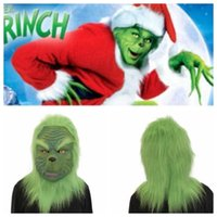 Wholesale mask movie props online - The Grinch Mask Latex Movie Cosplay How the Grinch Stole Christmas Costume Props with Green Hair Christmas Party KKA6288