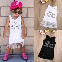 ingrosso un cotone della ragazza del vestito da un pezzo-2017 Moda Bambini Estate Ragazze Nappa Abiti in cotone Baby Girl senza maniche Fringe One-piece Sundress Kids Cute Princess Clothes