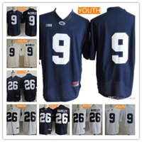 Wholesale Navy Boys - Youth Kids Penn State Nittany Lions Big 10 #9 Trace McSorley #26 Saquon Barkley Navy Blue White Name Stitched College Football Jerseys S-XL
