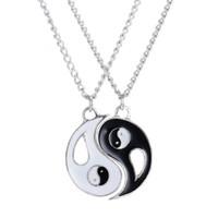 collar de gargantilla de yin yang al por mayor-Miss JQ símbolo místico chino Yin Yang colgante collar para mujer / hombre mejores amigos encanto blanco negro yoga choker joyería