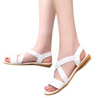 Wholesale wholesale womens heels - SAGACE 2018 Womens Summer Flip Flops Casual Slippers Flat Sandals BeachLow Heel Anti Skidding Beach Cross Strap Shoes Sandals