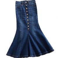 dbe21a0c7d9 новый плюс размер 7xl женщин джинсовые юбки Высокая талия длинная джинсовая  юбка мода дамы труба русалка S916