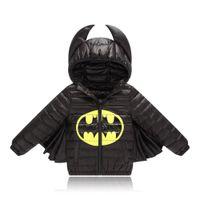 batman encapuchado al por mayor-Los niños de invierno con capucha abajo chaquetas outwear caliente impermeable bebé niño niñas chaquetas niños ropa estudiante batman coat y18102607