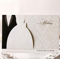 ingrosso progettazione di nozze sposo sposo-100pcs sposo abiti da sposa inviti di nozze carte di design in stile occidentale personalizzabile stampabile inviti di nozze