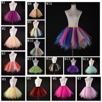 nuevo medio vestido de las faldas al por mayor-Color del caramelo multicolor longitud media longitud de malla mullida falda nueva moda chicas grandes mujeres tutu vestido trajes de baile MMA913