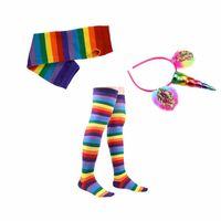 Wholesale Socks Tutu - kids Rainbow Tutu Suit Party Princess Dance Dress s with Unicorn Horn Headband leggings socks gloves Set Kids Birthday Photo Prop KKA4376