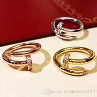Wholesale Stainless Steel Gold Nail rings with diamonds Top Quality silver rose gold lovers Band Rings for Women and Men Couple rings fine jewelry