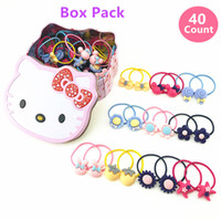 Wholesale Hair Accessories Boxes - 40 Pcs Box Flower Cartoon Beads Small Hair Ropes Toddlers Hair Ties Kids Hair Accessories Xmas Gifts