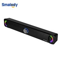 bilgisayarın ses çubuğu toptan satış-Smalody Stereo Bluetooth Hoparlör 10 W Kablosuz SoundBar Için Taşınabilir 2.0 Hoparlörler Sistemi TF Aux Telefon PC Dizüstü Bilgisayar Masaüstü