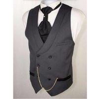 Wholesale wedding suit grey waistcoat - Custom Made Dark Gray Men Suit Vests Slim Fit Formal Waistcoat For Man Wedding Prom Vest double-breasted