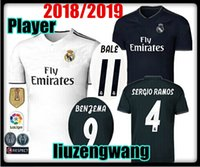 Wholesale uniforms dhl - Player version! New Real Madrid home white Jersey 18 19 Real Madrid away shirt 2019 KROOS ISCO ASENSIO BALE uniform Jersey 10 free DHL
