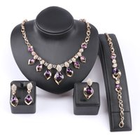 браслеты из австрийских кристаллов оптовых-African Jewelry Set Gold Color Purple Zircon Austrian Crystal Women Wedding Necklace Bracelet Earring Ring Jewelry Set