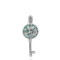 Wholesale tree essential oils for sale - Group buy 10pcs Silver Alloy Beauty Tree Key Leaf Oysters Beads Cage Locket Pendant Aromatherapy Perfume Essential Oils Diffuser