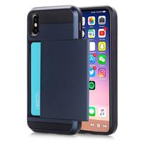 étui pour iphone de carte de visite achat en gros de-Une pièce Business Phone Cases pour iPhone X XS Max XR Case Slide Armor Wallet Carte Slots Titulaire Couverture pour iPhone 7 8 Plus 6 6s