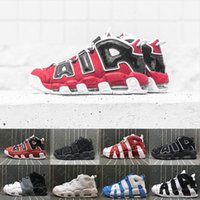 Wholesale Flax Medium - (With box) Air more flax Tri-Color Uptempo QS 96 Olympic Bulls UNC Triple White Men Basketball Shoes Airs 3M Scottie Pippen Casual Sneaker