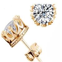 joyas de cristal natural de moda al por mayor-925 pendientes de plata cristal natural de moda al por mayor pequeña joyería de plata esterlina para las mujeres stud hombres o mujeres aretes